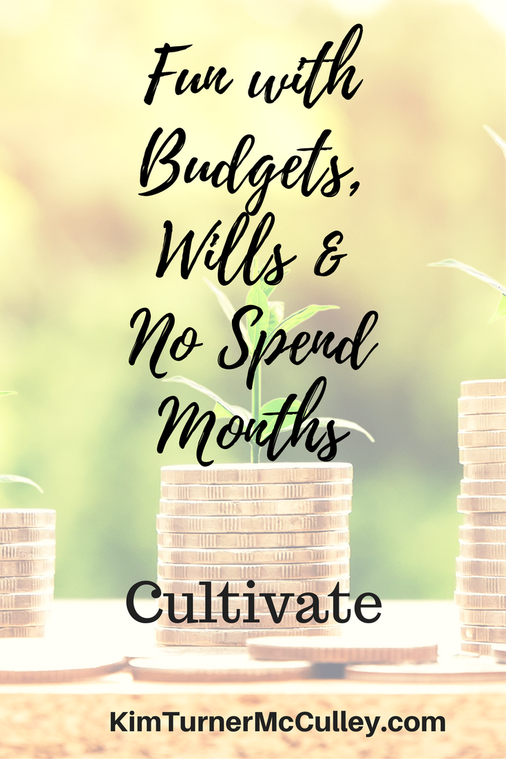 Fun with Budgets, Wills & No Spend Months KimTurnerMcCulley.com